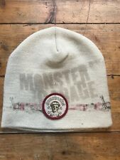Monster Garage Cream/Burgundy Toque Beanie Hat  EUC