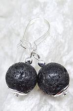 Ohrringe echte schwarze Lava & 925 Silber I Ohrhaken,Ohrhänger,925er Silber,edel