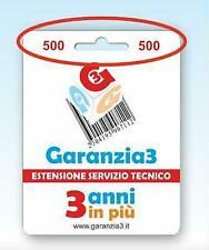 GARANZIA3 GR3-500 ESTENSIONE DI GARANZIA SERVIZIO TECNICO 3 ANNI MASSIMALE 500€