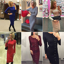 Womens Lady Button Up Pencil Dress Long Sleeve Jumper Dresses Winter Fall Outfit
