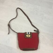 7f33af183e08 Chaps Ralph Lauren Red Brown Purse Crossbody Crossover Bag Canvas Leather  Adjust