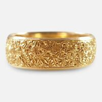 Antique Victorian 18ct Yellow Gold 6.5mm Engraved Wedding Band Ring London 1881