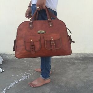 Unisex Genuine Leather large vintage duffel travel Holdall weekend overnight bag
