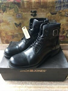 Jack Jones Black Albany Leather Boots, Size UK9 Brand New In Box