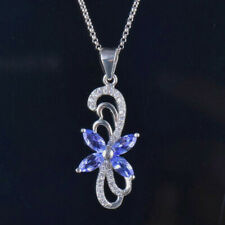 Natural Diamond Blue Marquise Tanzanite Gemstone Pendant 14K White Gold Auction
