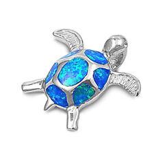 """TOP SELLER! Blue Australian Opal Turtle .925 Sterling Silver Pendant .5"""""""