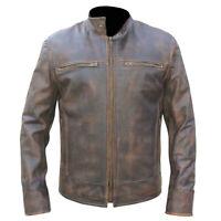 Men's Retro URBAN Vintage Distressed Brown Biker JACKET Washed REAL Leather TS