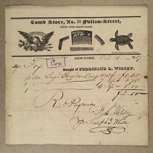 New York City NY 1827 FERDINAND L. WILSEY COMB STORE Turtle Shell Illus Billhead