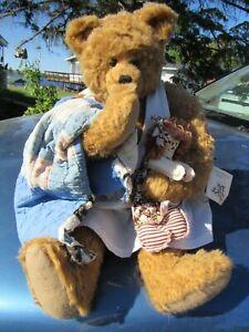 """VINTAGE TEDDY BEAR GIRL BLUE DOLL DRESS ARTIST OLDE FRIENDS CO TOY 20"""" W RAGGEDY"""