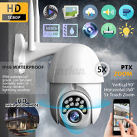 5x Zoom Outdoor 1080P HD WiFi Wireless Security Camera CCTV PTZ Tilt IR    AU AU