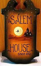 Original Ooak Hand Painted Ryta Halloween Sign Salem House Witch Vintage Style
