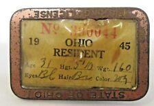 1945 Ohio Resident Fishing License pinback badge & Paper