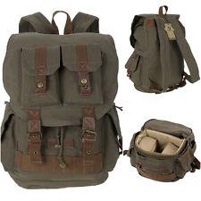 Retro Vintage Canvas Camera Backpack DSLR SLR Camera Bag For Canon Nikon Sony