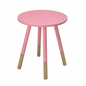 """Costa Painted Round Side Lamp Small Table Wood In Pink """"Brand New Boxed"""""""