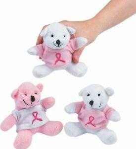 6 MINI Breast Cancer Pink Awareness Ribbon Plush Teddy Bears With T-Shirt - Cute