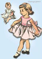 1950s Original Vintage Advance Sewing Pattern 6189 Cute Baby Girls Dress Size 3