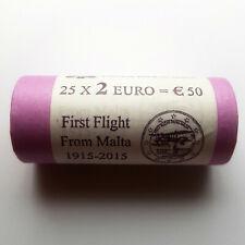 ⭐️ MALTA 2 EURO 2015 SICHT-ROLLE 100 JAHRE ERSTER FLUG 25x 2 € Flight Erstflug