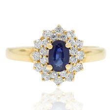 18k Yellow Gold 0.50ctw Diamond and Sapphire Cluster Ring
