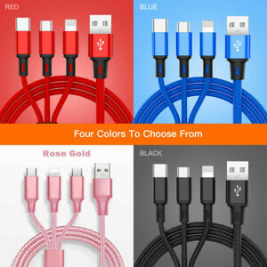 3 in 1 Fast USB Charging Cable Universal Multi Function Cell Phone Charger Cord