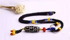 Big 3 Eye Dzi Bead with Coconut Flakes and Cinnabar Prayer Necklace