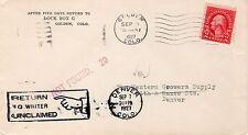 Sc# 634 Golden CO. Sep 3 1927 Not Found 20 Return to Writer UnClaimed Denver CO
