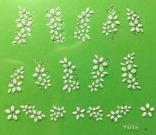 Nail Art 3D Decal Stickers White Flowers Y015