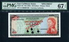 East Caribbean 1965, $ 100, Specimen, P16s, PMG 67 EPQ Superb GEM Uncirculated