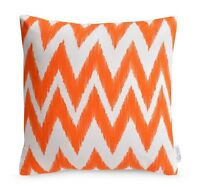 Orange Chevron Decorative Cushion Cover Bright Zig Zag IKAT Throw Pillow 16""