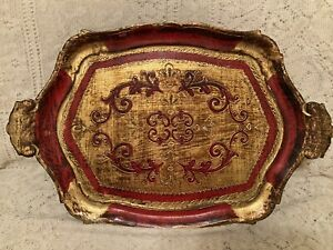 Vintage Gold And Red Florentine Tole Tray