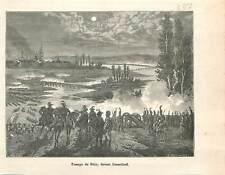 Passage du Rhin troupes françaises Dusseldorf Révolution française GRAVURE 1883