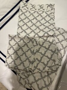 Pottery Barn Cream & Grey King size  Fitted Sheet Flat Sheet  4 Pillowcases