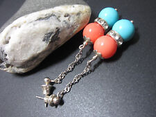 Long Orange Turquoise Shell South Sea Pearl 10 mm Beads 925 Silver Earrings