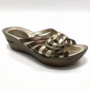 ✅💟✅@ Cole Haan Women Wedge Sandal 6 NikeAir Brown Gold Leather Slides Platforms
