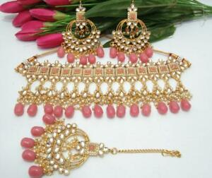 Indian Traditional Bollywood Gold Plated Bridal Kundan Pink Necklace Jewelry Set