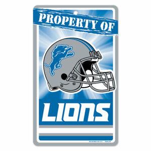 "DETROIT LIONS ""PROPERTY OF"" PLASTIC SIGN DURABLE POSTER NFL LICENSED"