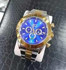 Orologio Polso Zcc Uomo Automatico Cronografo Elegante Silver Oro Fondo Blu lac