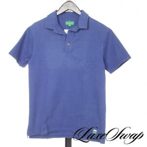 Magill Los Angeles Made USA Garment Washed Ocean Blue Rigid Twill Polo Shirt S
