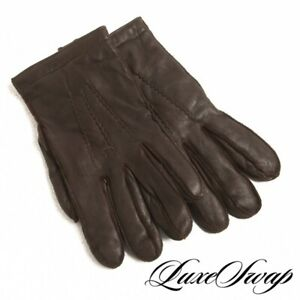 #1 MENS Polo Ralph Lauren Brown Leather 40 Gram Thinsulate Cashmere Mix Gloves L