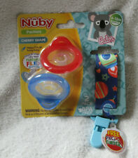 Nuby 2 Piece Natural Flex Silicone Cherry Shape Pacifier 6-12 Month Space Clip