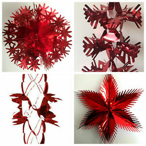 LARGE RED FOIL CHRISTMAS XMAS FESTIVE HANGING CEILING HOME PARTY DECORATIONS