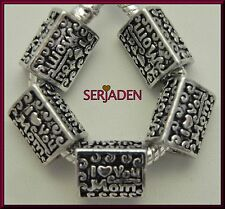 5    I LOVE YOU MOM   Antique Silver Spacer for Charm Bracelet or Necklaces S131