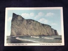 Perce Rock PQ Quebec Vintage Hand Color Print  Postcard Posted 1936