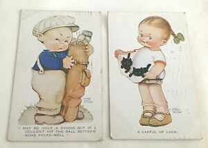 Vintage Mabel Lucy Attwell 2 x postcard s postmarked 1925 1929