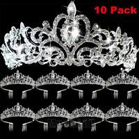 Lot10 Wedding Bridal Princess Crystal Prom Hair Tiara Crown Veil Headband w/Comb