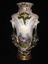 "Rare Early 13 7/8"" Paris Porcelain Floral Vase W/figural Animal Handles"