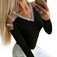 Ladies T-Shirt Loose Womens Tee Blouse Tops Long Out Sequin Casual Hollow Sleeve