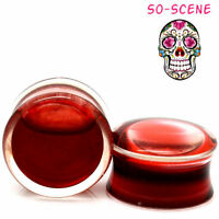 PAIR-BLOOD RED LIQUID FILLED - Ear Gauges-Ear Gauges-Ear Plugs-DOUBLE SADDLE