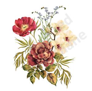 Furniture WATERSLIDE Decal Transfer Image vintage -flowers floral bunch /372