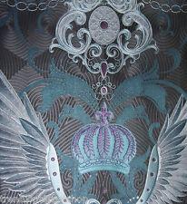 Vlies Tapete Glööckler Deux 54454 schwarz silber lila Flügel Krone Ornamente