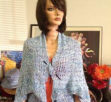Hand Knit Shrug Spring Summer Designer Fashion Ocean Blue Shades